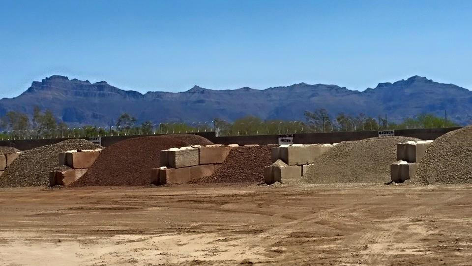 AZ Rock Express yard fully stocked with landscape rock, river rock, pea gravel, sand,  and minus gravel