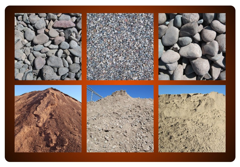 river rock, pea gravel, and sand selection